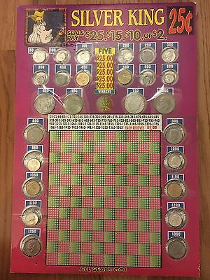 27 COINS Silver King *NOT Punched* PUNCHBOARD Universal Manufacturing Company