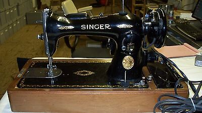 Singer Sewing Machine Model #15-90  1948  With Bentwood Case