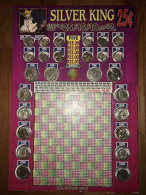 Silver King PUNCHBOARD *27 Coins *SILVER *NOT Punched Universal Manufacturing Co