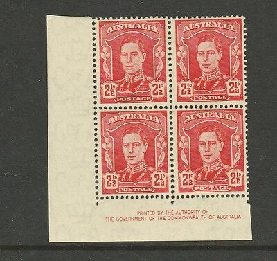 1938 KGVI DEFINITIVE 2½d SCARLET IMPRINT BLOCK OF 4 MINT UNHINGED