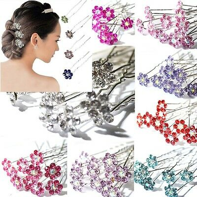 10 /20 Pcs Chic Crystal Diamante Rhinestone Wedding Bridal Flower Hair Clip Pins
