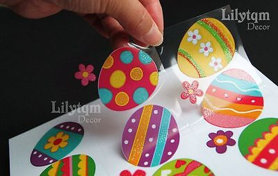 Easter Eggs Window Glass Cling Sticker Shop Home Party Decoration by Static