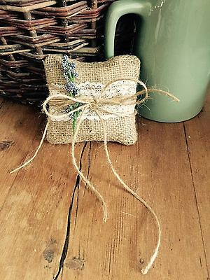 Vintage Style Rustic Hessian Country Ring Cushion/pillow