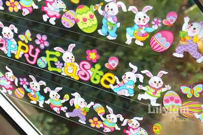 Happy Easter Rabbit Egg Bunny Window Glass Cling Sticker Shop Home Party Decor