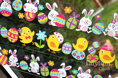 Easter Chick Rabbit Eggs Window Glass Cling Stickers Shop Home Party Decorations