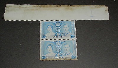 A GROUP OF 2 X GV1 CORONATION 3 1/2a  STAMPS  ADEN   SP2057A