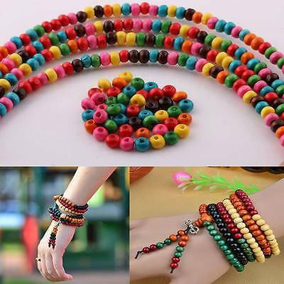 1000 Pcs Colorful Rondelle Wood Spacer Loose Beads Charms 4MM