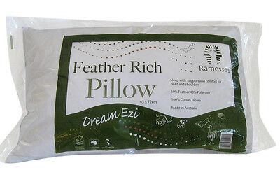 2 x Brand New Feather Rich Pillows - Made in Australia