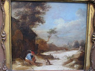 Attributed  David Teniers signed ANTIQUE OLD MASTER OIL PAINTING on oak panel