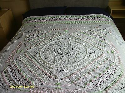 Sophie's Universe Hand Crochet Bed Spread, Throw, Babies mat. 175cm square.