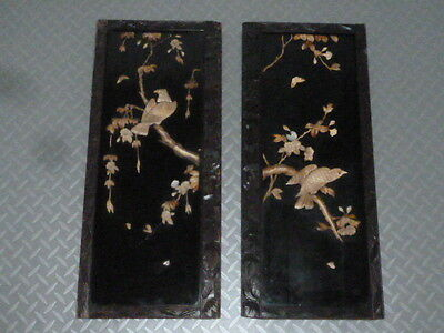Stunning Antique Chinese Carved Inlay Lacquer Panels c1890