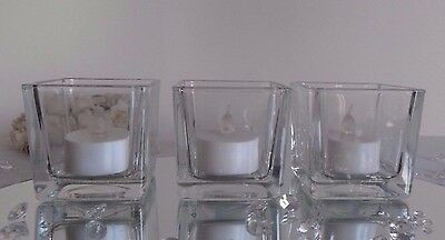 Square Cube Clear Glass Tea Light Tealight Candle Holders Votive - Wedding