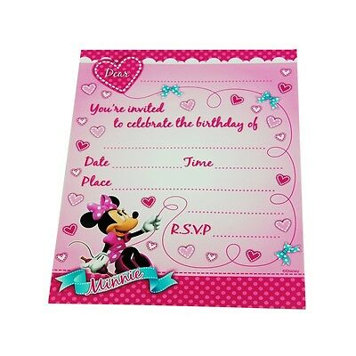 Minnie Mouse Invitations Pack Of 8 Birthday Party Supplies Invites