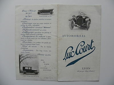 Rare catalogue / brochure automobiles LUC COURT