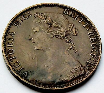 Great Britain -1874 H Queen Victoria Half-Penny High Grade Coin