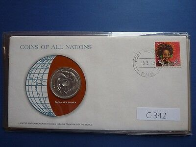 Papua New Guinea 1979 Souvernir Franklin Mint Coin & Stamp First Day Cover C342