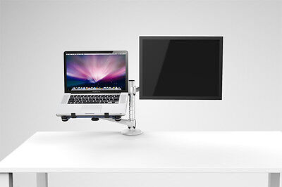 ADJUSTABLE LAPTOP & MONITOR DUAL DESK MOUNT BRACKET Tilt Swing UK seller