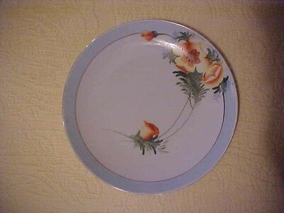 Hand Painted NIPPON PLATE w/ ORANGE POPPY FLOWERS, LIGHT BLUE BORDER