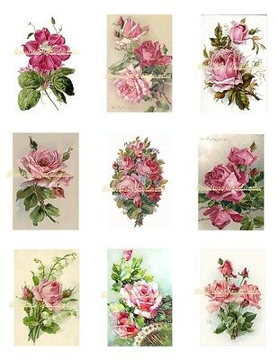 "Pink Roses 2 Cotton Fabric Crazy Quilt Blocks (9) @ 2X3"" on 8.5X11"" Sheet"