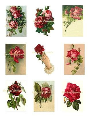 """Red Roses 1 Cotton Fabric Crazy Quilt Blocks (9) @ 2X3"""" on 8.5X11"""" Sheet"""