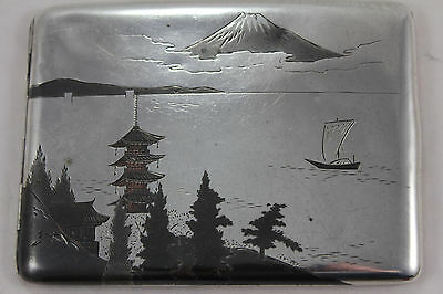 Antique c1900 Japanese Solid Silver Niello Curved Cigarette Case. Signed 105g