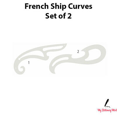 FRENCH SHIP CURVES SET OF 2 Curve Rulers Technical Drawing Stencil Template