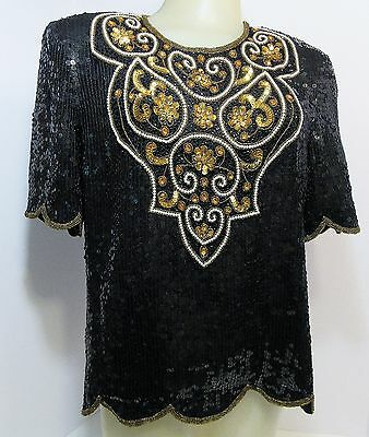 Vintage 80s Evening Cocktail Beaded Sequin Top Blouse Silk Medium Black Gold