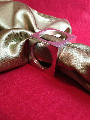 Vintage Silver Plate Napkin Rings Unique Box Shape with Round Hole Cut Outs