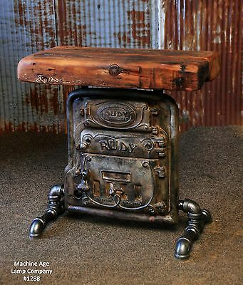 Steampunk Lamp Industrial Machine Age Boiler Door Table Sofa Side Console Stand
