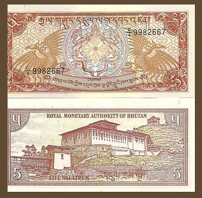 Bhutan P14, 5 Ngultrum, Palace / Mythical bird of long life - UV image, UNC 1985