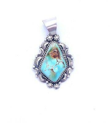 Navajo Handmade Sterling Silver Royston Turquoise Pendant