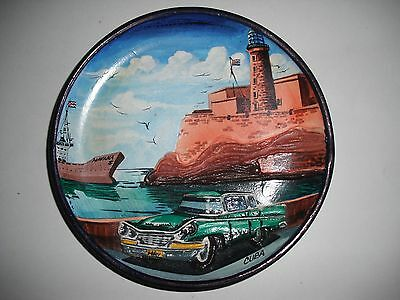 Vintage 1950's Havana Cuba Hand Painted Three Dimensional Wall Art Plate Plaque