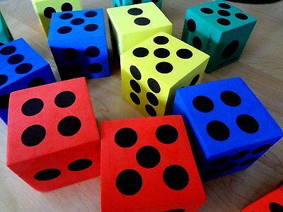 """Lot of 12 Assorted Colored Extra Large Foam Dice 2.5"""" D6 Gaming Casino"""