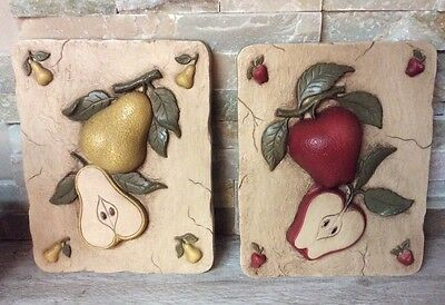 Homco Home Interiors Apple and Pear Resin Kitchen Dining Room Plaques