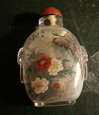 Signed Reverse Painted Chinese Snuff Bottle Birds and Flowers