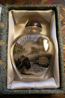Signed Vintage Inside Painted  Reverse Painted Chinese Snuff Bottle River Scene
