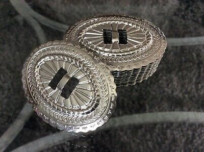 """Lot 20 - Tandy Oval Southwestern Slotted Conchos Silver Finish 2-1/8x1.5"""" NOS"""