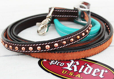 Horse 8ft Contest Western Tack Barrel Leather Rein Reins Rodeo Equine 6636