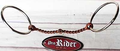 """'ProRider SS 3"""" Loose Ring with Twisted Copper Wire Snaffle Horse Bit 35479P"""