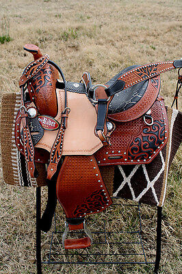Horse Western Barrel Show Pleasure LEATHER SADDLE Bridle Brown 50174
