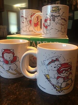 1987 SANTA BEAR COFFEE MUGS Dayton Hudson set of 4 in box ski sled skate snowman