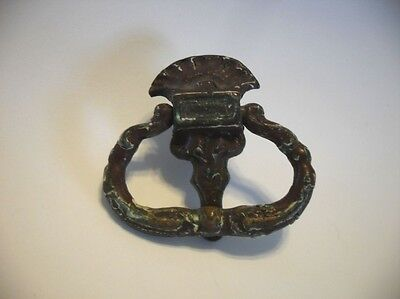 Vintage Cast Brass Small Victorian Ornate Drop Ring Dresser Drawer Pull Knocker