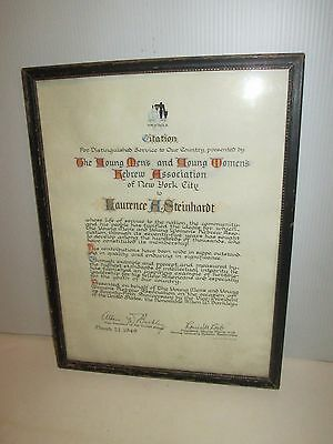 Vintage Jewish Ymha Ywha Young Mens Hebrew Association 1949 Illuminated Citation