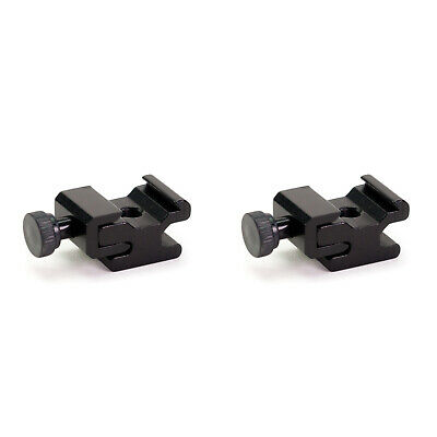 "2 x Solid Metal Cold Shoe Mount Adapter with ¼"" Female Screw Base"