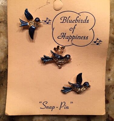 Blue Birds of Happiness Pins - Never Used Original Packaging