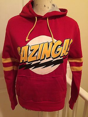 Authentic Big Bang Theory Sheldon Cooper BAZINGA Hoodie Red Size S