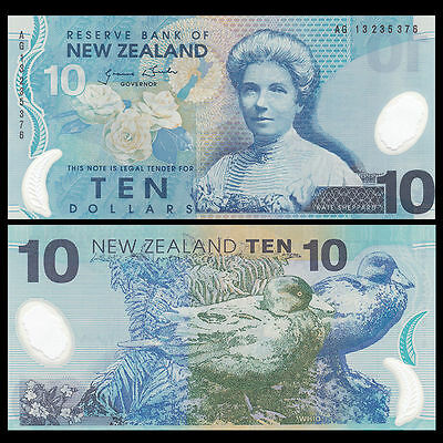 New Zealand 10 Dollars Banknote, 2013  Polymer, Uncirculated With Free Shipping