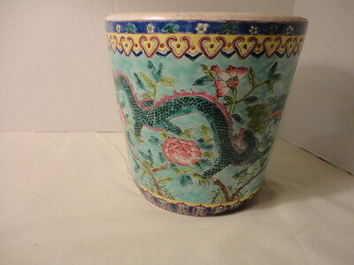 "Vintage-Oriental-Asian-Chinese-Porcelain-Jardiniere-Planter-Pot Floral 8 "" Tall"