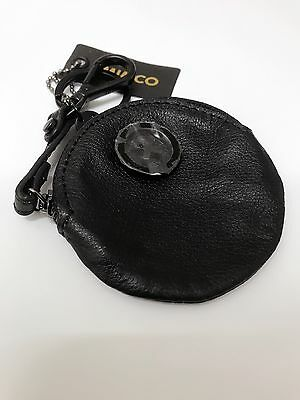 BNWT MIMCO small coin pouch keychain black leather matt black hardware @only1@