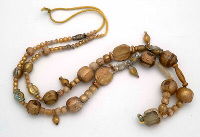 "Rare ancient Roman ""gold leaf sandwich"" glass bead Necklace, 1st century B.C."
